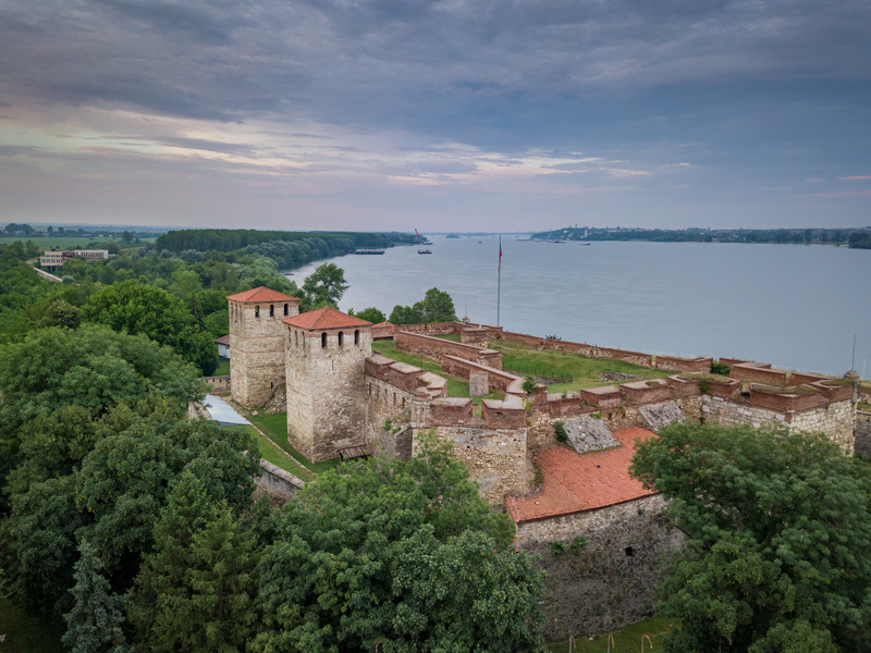 Aerial view of the Danube with Baba Vida Fortress