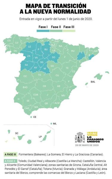 Spain - lockdown de-escalation map Phases 1,2,3