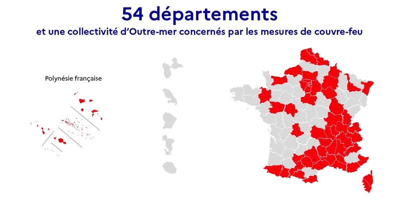 France 54 departments under curfew map