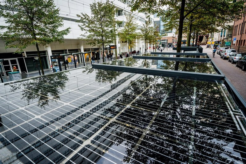 The Hague - bus stop solar panels