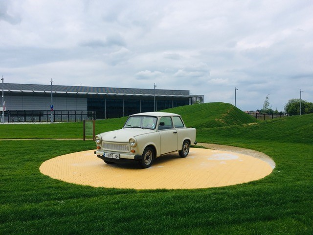 Trabi in NATO HQ, atop yellow tiles, April 2020