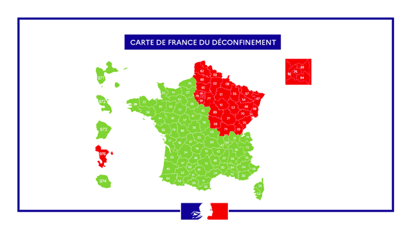 France divided into red and green zones for lifting lockdown