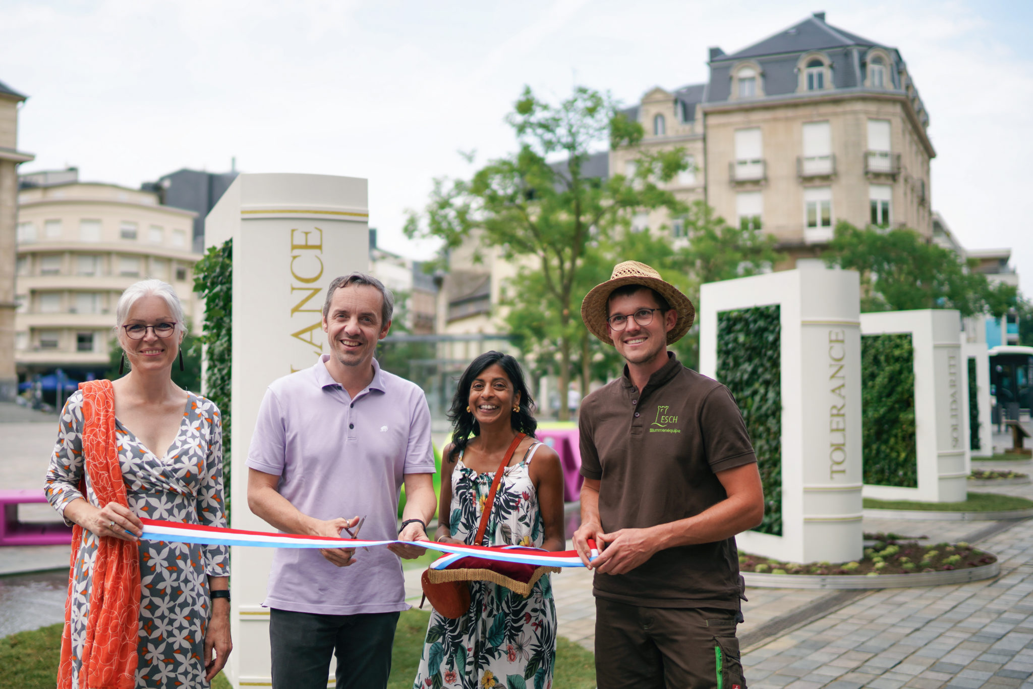 Ephemeral garden of living books installed in Esch