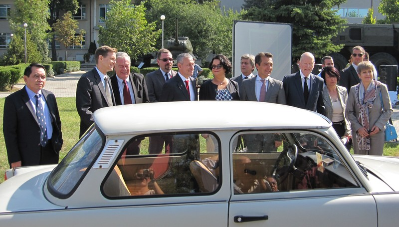 the Trabant at the donation ceremony