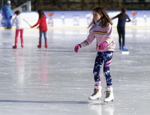 Slider ice skating