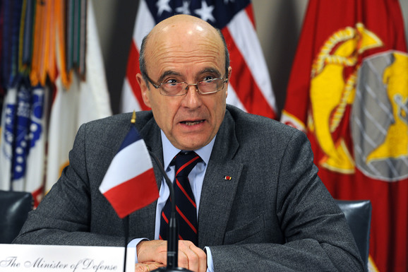 Slider defense.gov news photo 110208 d 9880w 170   french minister of defense alain juppe responds to a reporter s question during a joint media availability in the pentagon with secretary of
