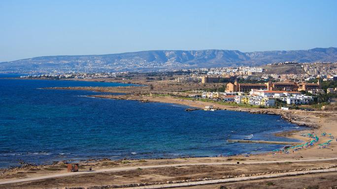 Slider coastal town landscape in cyprus