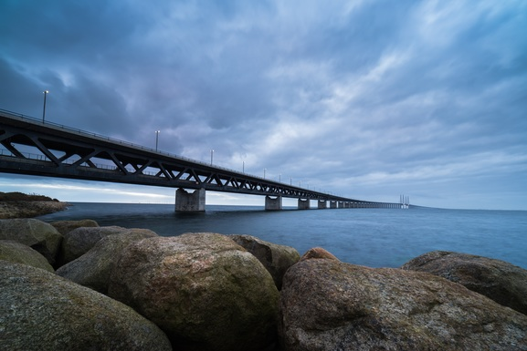 Slider oresund bridge view from sweden