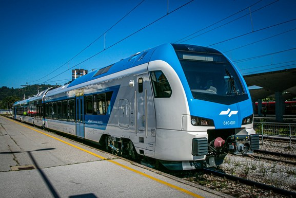 Slider stadler train by slovenian railways