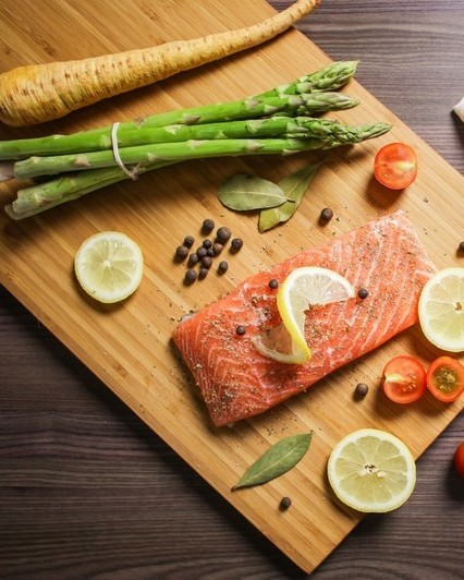 Food foodie bake salmon fish citrus vegetables asparagus 869031