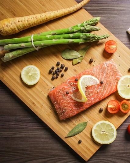 Food foodie bake salmon fish citrus vegetables asparagus 869031