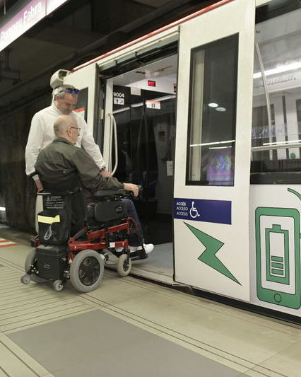Disabled person in metro barcelona