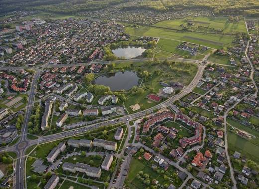 Medium aerial view of tychy