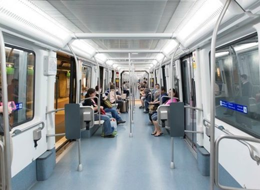 Medium interior of metro barcelona train