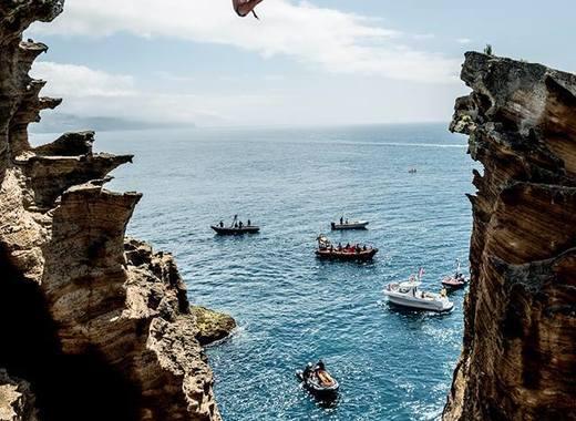 Medium red bull cliff diving..