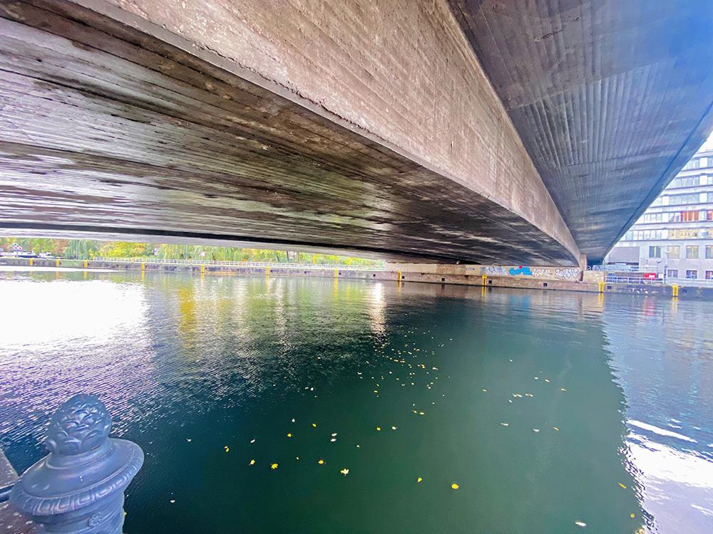 the river under the bridge
